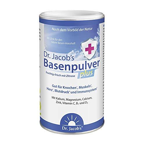 Dr Jacob\'s Basenpulver plus mit echter Zitrone I für mehr Energie, Muskeln, Knochen, Herz und Blutdruck I Kalium Calcium Magnesium Zink I Vitamin C D B1 I auch bei Diäten I 300 g Basen-Pulver vegan