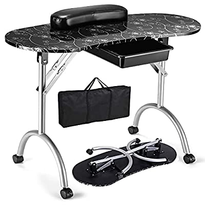 Giantex Nail Table Station Portable Manicure Tech Desk