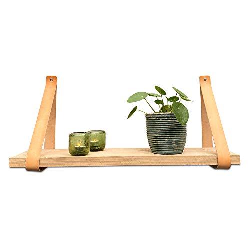 Brete Strength plankdrager van leer | Naturel | 4 stuks | 100% volnerfleer | plankhouder leer plankhouder | lederen plankdragers | wandplank
