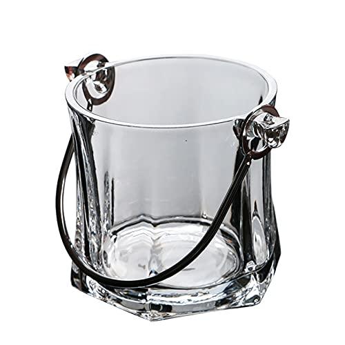 HUYP 1L Bencia Grande Grande, refrigeratori di Vino addensati di Cristallo di Cristallo di Ghiaccio Secchio Ice cubetti di Ghiaccio Contenitore con Maniglie in Acciaio Inox
