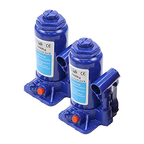 選べる2カラー 油圧式 ボトルジャッキ 定格荷重約5t 約5.0t 約5000kg 2台セット 2個 油圧ジャッキ だるまジャッキ ダルマジャッキ ジャッキ 手動 安全弁付き ジャッキアップ タイヤ交換 工具 小型 軽量 車載用 車 整備 修理 メンテナン