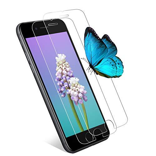 Wlife Panzerglas Kompatibel iPhone 7 Plus/8 Plus, [2 Stück] 9H Kratzfest HD Displayschutzfolie, Anti-Blasen und Fingerabdruck Einfaches Anbringen Panzerglasfolie Schutzfolie