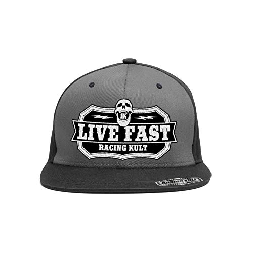 RACING KULT Gorra con texto 'Live Fast Die Young Snapback'...