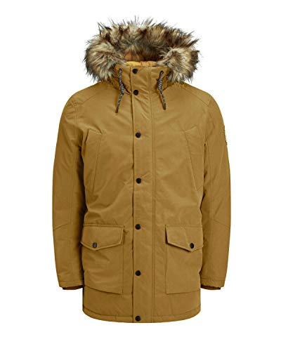 Jack & Jones - Parka para hombre con capucha de pelo sintético marrón dorado M