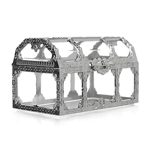 LNIMIKIY - Joyero Transparente con Forma de Gema para Almacenamiento de Tesoros, Coleccionable, Caja de Cristal de Caramelo, Pirata, Escritorio, Maquillaje, hogar, Mini joyero, Plateado, 9x5.2x5.5cm