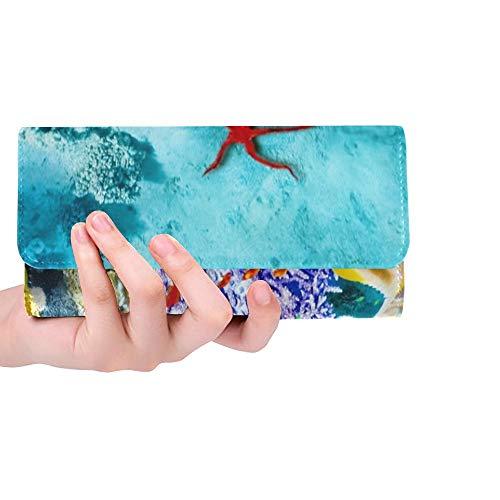 Einzigartige benutzerdefinierte wunderbare schöne Unterwasserwelt Korallen Tropische Frauen Trifold Wallet Lange Geldbörse Kreditkarteninhaber Fall Handtasche