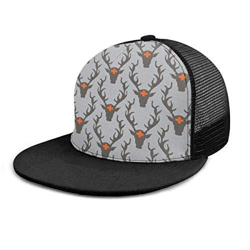 Baseballmütze Deer Head Orange Unisex 3D Hip Hop Hysteresenhut mit Flacher Krempe Baseballmützen