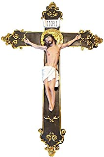 Love's Gift 24 Inches Wall Mounted Resin Jesus Christ on Inri Cross Wall Crucifix Home Chapel Decoration (Beige)