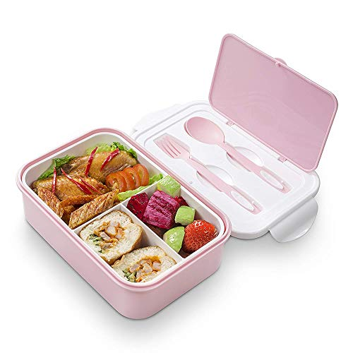 Contenedores De Almuerzo Para Niños | Lunch Box Azul 2 Cubiertos de Regalo | Fiambrera Bento con 3 Compartimentos Estancos 1400 ml | Microondas y Lavavajillas | Bento Box Adultos o Niños(Rosa)