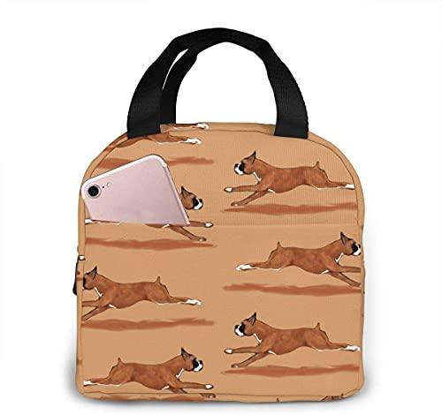 Jupsero Running Boxer - Bolsa de almuerzo para perros para mujeres, niñas, niños, bolsa de picnic aislada, bolsa térmica gourmet, bolsa cálida para trabajo escolar, oficina, camping, viajes, pesca