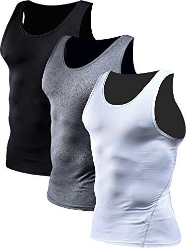 Neleus Men's 3 Pack Athletic Compression Under Base Layer Sport Tank Top,01,Black,Grey,White,L,EUR XL
