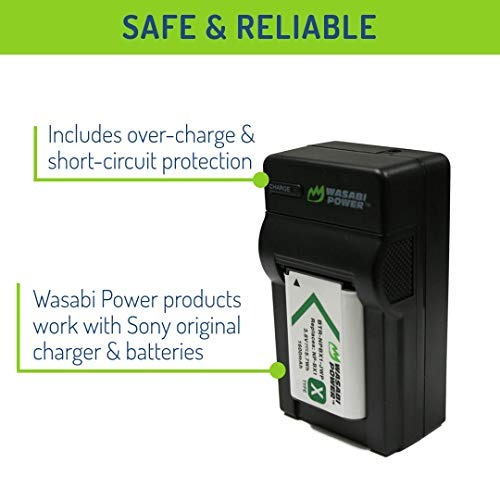 Wasabi Power NP-BX1 Battery (2-Pack) and Charger for Sony NP-BX1/M8, Cyber-Shot DSC-HX80, HX90V, HX95, HX99, HX350, RX1, RX1R II, RX100 (II/III/IV/V/VA/VI), FDR-X3000, HDR-AS50, AS300 and More