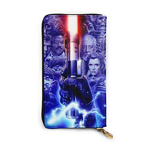 AOOEDM Leather Wallet Darth Vader Anakin Skywalker Brieftasche Blockieren von echtem Leder Brieftasche Reißverschluss um Kartenhalter Organizer Clutch