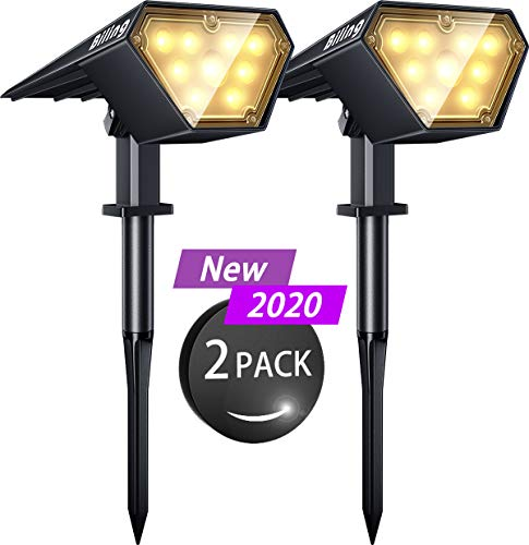 Biling Solar Spotlights Outdoor, 2-in-1 Solar Landscape Lights 12 LED Bulbs Solar Powered Lights IP67 Waterproof Adjustable Wall Light for Patio Pathway Yard Garden Driveway Pool - Warm White