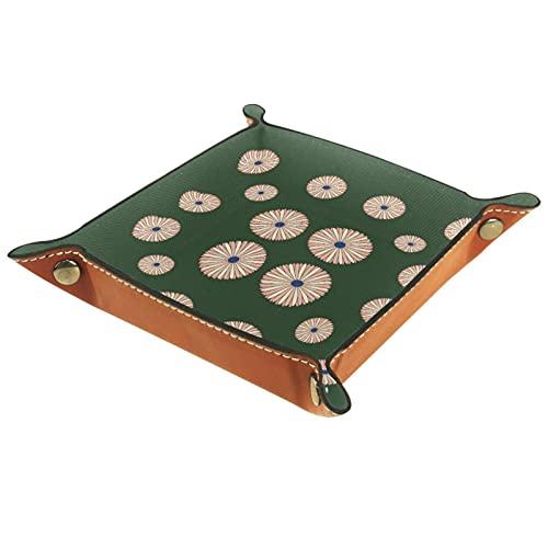 LXYDD Bandeja de Valet de Cuero Multiusos Caja de Almacenamiento Organizador de bandejas Se Utiliza para almacenar pequeños Accesorios,Verde crisantemo