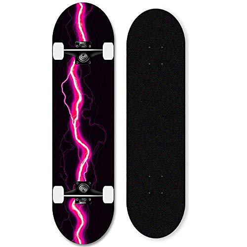 Anfänger Skateboard 31 x 8 Zoll komplettes Skateboard, geeignet für Teenager, Kinder, Erwachsene, Jungen und Mädchen-Rosa Blitz_