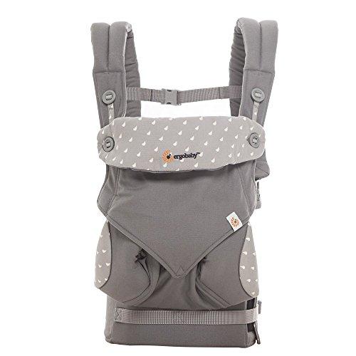 Ergobaby Babytrage 360 Dewy Grey, 4-Tragepositionen Baby-Tragesystem für Kleinkind, Babytragetasche für Bauch Hüfte Rückentrage