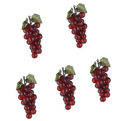 F Fityle 5 Stücke Künstliche Trauben Matt Trauben Gummi Traubenbündel Dekorative Trauben Trauben
