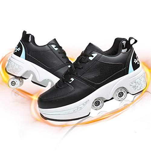 JZIYH Patines En Línea De Nuevo Diseño 2 En 1 Zapatillas De Skate Invisible De Polea De Calzado De Doble Propósito para Adultos Niños,Black+Blue,40