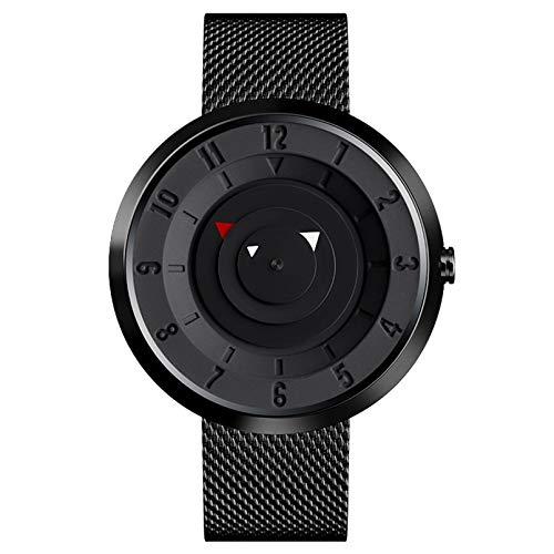 WN-PZF Relojes de Pulsera para Hombre, Ultrafino Simple Casual Estilo Creativo sin Puntero Escala de Disco Reloj de Cuarzo Correa de Acero Inoxidable Reloj Impermeable para Estudiantes de Moda,Negro