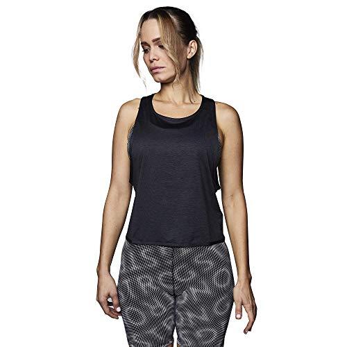 STRONG by Zumba Camisetas Tirantes Mujer de Espalda Abierta Top Deportivo de Entrenamiento Blusas, Knit Black, Large