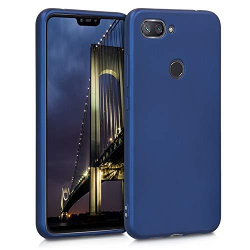kwmobile Funda Compatible con Xiaomi Mi 8 Lite - Carcasa móvil de Silicona - Protector Trasero en Azul Metalizado