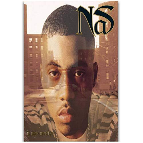 Album Cover Nas Het Was Geschreven Rap Hip Hop Muziek Rapper Star Wall Art Schilderij Canvas Poster Woondecoratie-50x70 cm Geen Frame