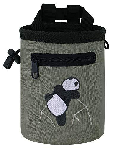 AMC Rock Climbing Panda Compact Chalk Bag with Adjustable Belt, Gray