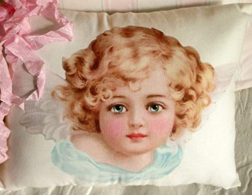 None-brands Pillow Cases Decorative Soft Pillow Cover Cushion Case BEAUTIFUL Angel Cherub PILLOW Blue Eyes Cherub Wings Shabby CHERUB Shabby Pillow Shabby Chic Pillow!!! for Car Sofa Bed Couch Home