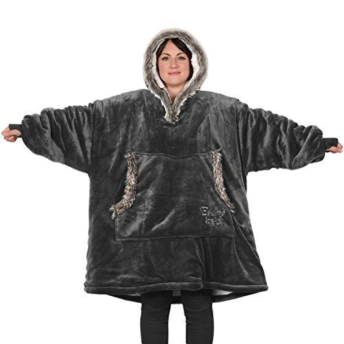 Snug Rug The Eskimo - Manta sudadera con capucha, de forro polar sherpa supersuave y cálido de primera calidad, para adulto, oversized, talla única, unisex, para hombre y mujer