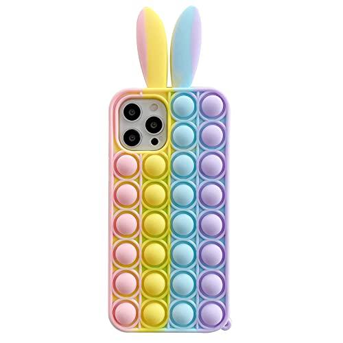 Ozlice - Custodia in silicone per iPhone 6/6s/7/8/Se2020, iPhone 6/6s/7/8 Plus, Push Pop Bubble Sensory Fidget Toy con orecchie di coniglio, colore arcobaleno (iPhone 6 Plus/6s Plus)