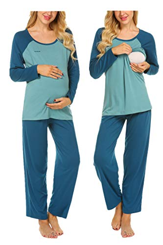 MAXMODA Damen Baumwolle Umstandsschlafanzug Umstandspyjama Langärmelliges Stillpyjama Zweiteilig Schwangerschaft Hausanzug mit Lange Hosen mit Stillfunktion Pfauenblau M