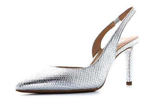 Michael Kors Womans Michael Kors Lucille Model Heeled Sandal In Silver Metallic Leather 38,5(EU) - 8(US) Silver