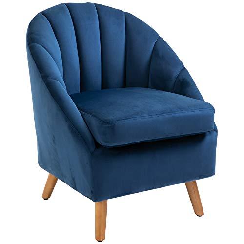 HOMCOM Accent Chair Velvet Fabric Single Sofa Armchair Home Living Room Solid Wood Leg Upholestered Side Armchair Blue