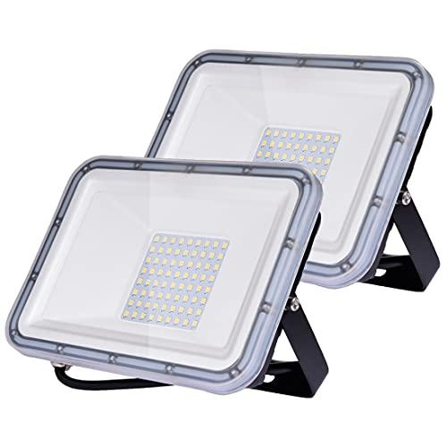 50W Projecteur LED Extérieur 2pcs, 5000LM Éclairage de Sécurité Extérieur, IP67 Imperméable...