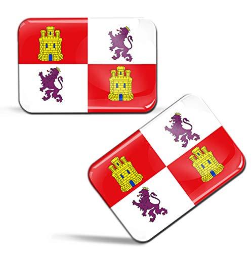 Biomar Labs® 2 x 3D Gel Pegatinas Siliconas España Bandera de La Comunidad de Castilla y León Emblema Castellanoleonesa Español Stickers Spain Flag Adhesivos Auto Coche Moto Bicicleta Ordenador F 90