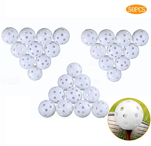 Cemok 50 Stück Golf-Trainingsbälle, Kunststoff mit Loch, Luftstrom, hohl, für drinnen und draußen, Übungsbälle für Schwungübungen, Fahrbereiche, Haustiere, Kinder, Poolbälle