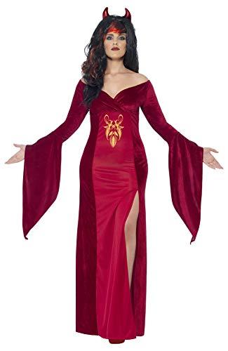 Smiffys - Disfraz Diablo con Vestido y Cuernos para Mujeres, Color Rojo (44337X2)