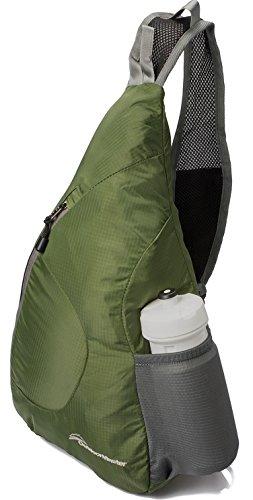 OutdoorMaster ワンショルダーバッグ 斜めがけバッグ ボディバッグ メンズ レディース 折り畳み収納可能 アウトドア軽量 防水 7色 (オリーブ)