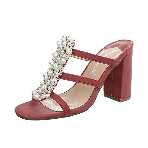 Ital-Design Pantoletten Damen-Schuhe Pump High Heels Sandalen & Sandaletten Weinrot, Gr 37, 9354-