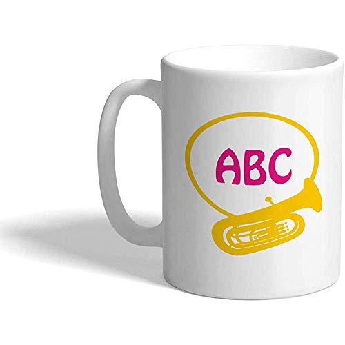Kundenspezifische Kaffeetasse-personalisiertes Keramik-Tee-Schalen-Weiß der Monogramm-Trompeten-Musik-D