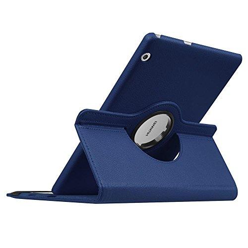 DETUOSI Hülle Kompatibel mit Huawei T3 10,360° Drehbarer PU Leder Tasche Hülle Etui Schutzhülle für Huawei Mediapad T3 10.0 Zoll Tablet Case Cover Bookstyle Lederhülle mit Multi Ständer