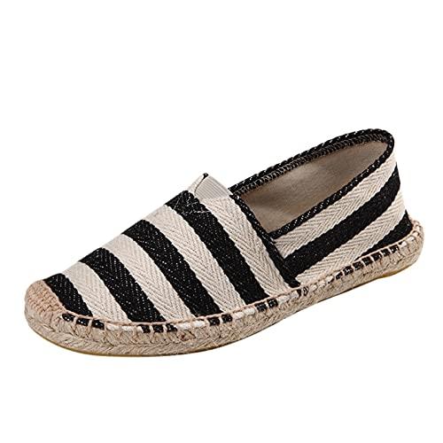 Zapatos de Pareja Hombre Mujer Rayas Alpargatas Plano Slip-On Canvas Casual Zapatos de Verano de Lino de algodón Alpargatas Planas Deslizamiento en Zapatos Bordados señoras ⭐