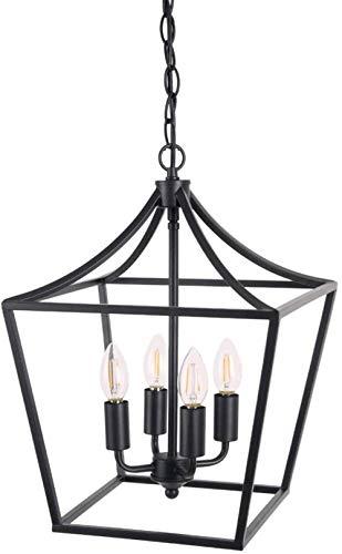 4-lamp Kroonluchter Style industriële verlichting for entree gangen en eten mat zwarte afwerking