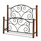 eLuxurySupply Doral Vintage Style Headboard and Footboard - Ultra Sturdy Wood and Metal Head Boards and Foot Boards California King Size Matte Black Powder Coat Finish - Bedframe Not Included