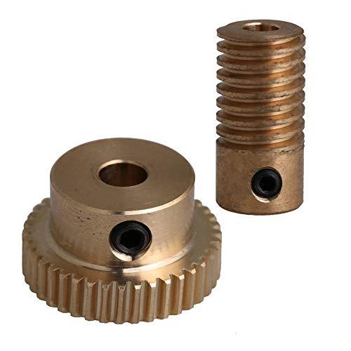 CNBTR 40T 1:40 Brass Worm Gear Wheel + 4mm Hole Dia Worm Gear Shaft Kits 0.5 Modulus Set Drive Gear Box Part