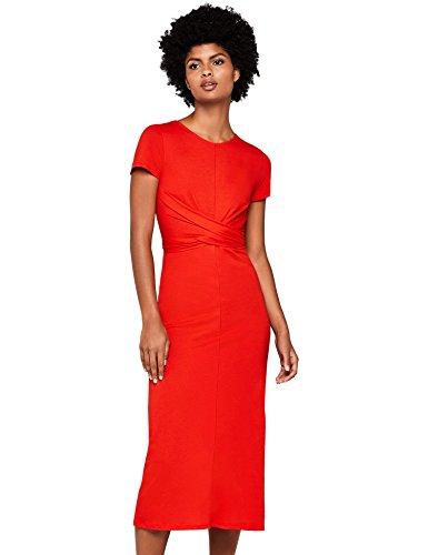 Marca Amazon - find. Vestido Estampado con Cinturón Anudado Mujer, Rojo (Red), 40, Label: M