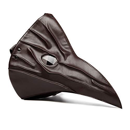 Zishine Plague Doctor Mask Halloween Puntelli Puntelli Costume Steampunk Gothic Retro Bird Beak Mask (Senza Cappelli e Altri),Marrone