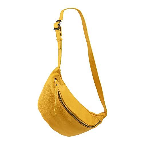 SH Leder echt Leder Damen unisex Brusttasche für Festival Reise mittelgross Hüfttasche Crossbody Bag Frauen Ledertasche 37x21cm Fania G697 (Gelb)
