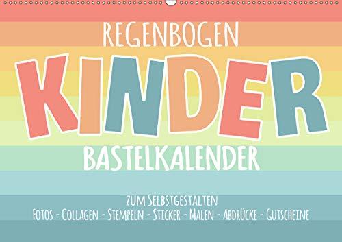 Regenbogen Kinder Bastelkalender - Zum Selbstgestalten - DIY Kreativ-Kalender (Wandkalender 2021 DIN A2 quer)